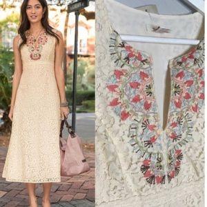 NWT SUNDANCE HONEYSUCKLE LACE Maxi Dress  8 Ivory